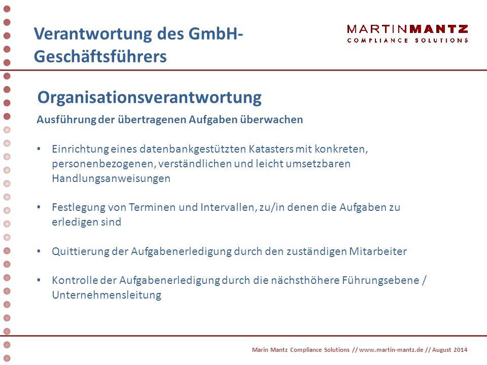 Verantwortung des GmbH- Geschäftsführers Organisationsverantwortung Ausführung der übertragenen Aufgaben überwachen Einrichtung eines datenbankgestütz