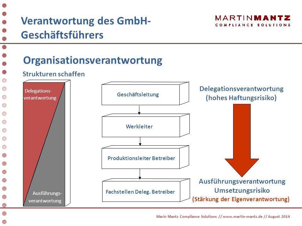 Organisationsverantwortung Verantwortung des GmbH- Geschäftsführers Delegations- verantwortung Geschäftsleitung Werkleiter Produktionsleiter Betreiber