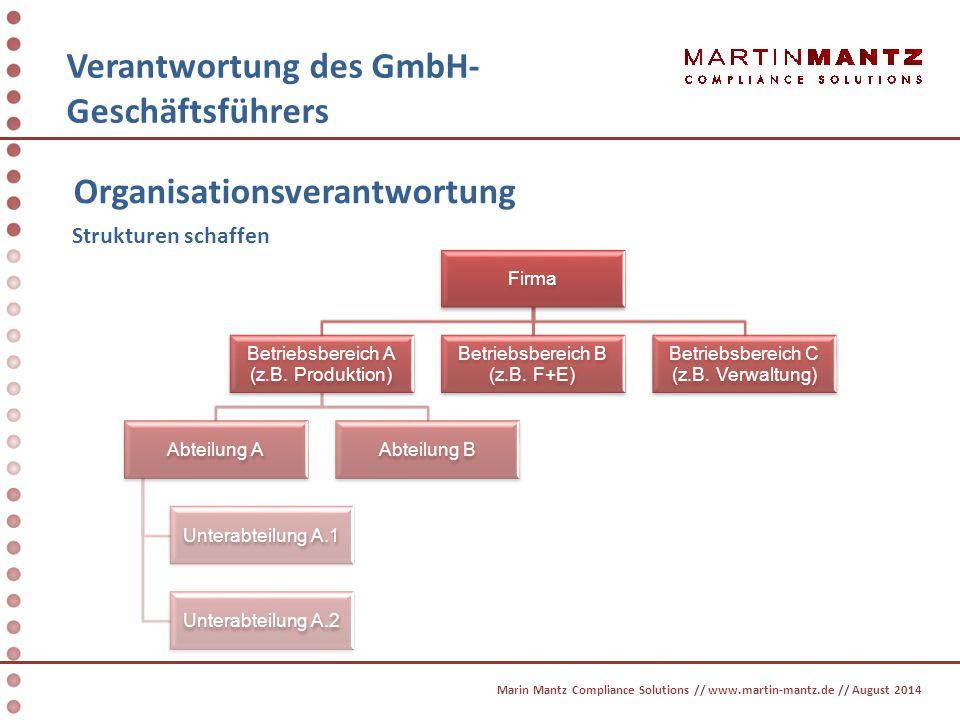 Verantwortung des GmbH- Geschäftsführers Organisationsverantwortung Verantwortungen und Befugnisse festlegen Bestellung von Führungskräften und Betriebsbeauftragten Auswahl nach persönlichen Merkmalen wie z.B.