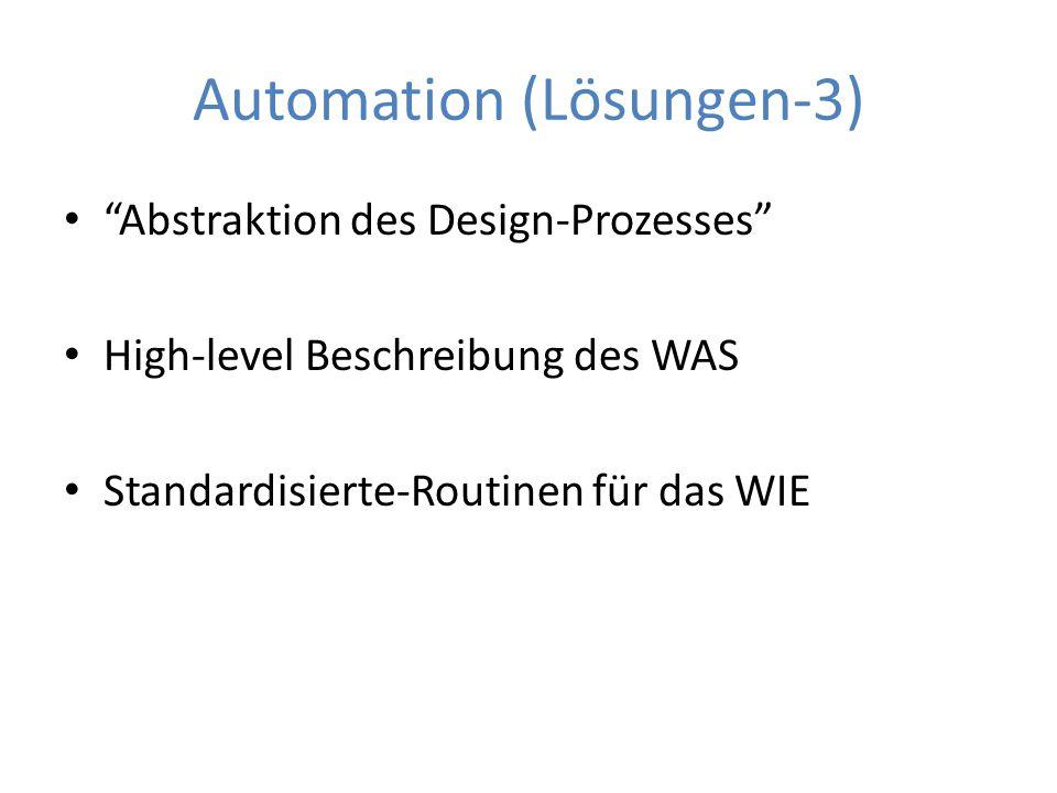 """Automation (Lösungen-3) """"Abstraktion des Design-Prozesses"""" High-level Beschreibung des WAS Standardisierte-Routinen für das WIE"""