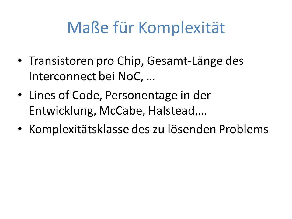 Maße für Komplexität Transistoren pro Chip, Gesamt-Länge des Interconnect bei NoC, … Lines of Code, Personentage in der Entwicklung, McCabe, Halstead,