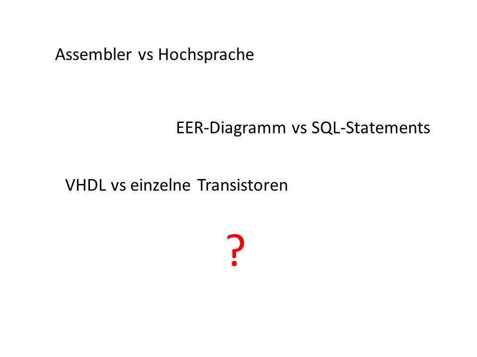 Assembler vs Hochsprache EER-Diagramm vs SQL-Statements VHDL vs einzelne Transistoren ?