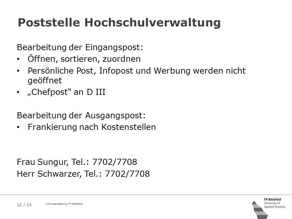12 / 13 Infoveranstaltung FH Bielefeld Poststelle Hochschulverwaltung Bearbeitung der Eingangspost: Öffnen, sortieren, zuordnen Persönliche Post, Info