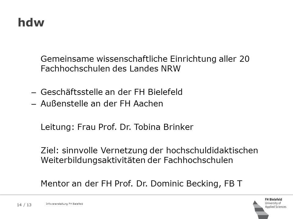 14 / 13 Infoveranstaltung FH Bielefeld hdw Gemeinsame wissenschaftliche Einrichtung aller 20 Fachhochschulen des Landes NRW – Geschäftsstelle an der F