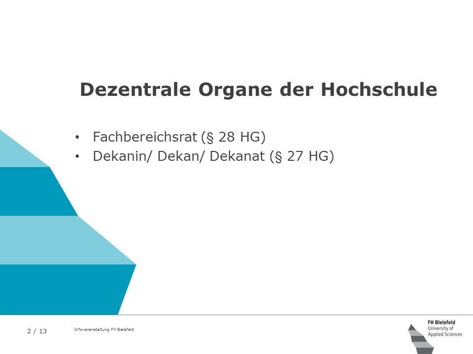 2 / 13 Infoveranstaltung FH Bielefeld Dezentrale Organe der Hochschule Fachbereichsrat (§ 28 HG) Dekanin/ Dekan/ Dekanat (§ 27 HG)