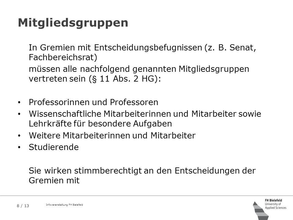 8 / 13 Infoveranstaltung FH Bielefeld Mitgliedsgruppen In Gremien mit Entscheidungsbefugnissen (z. B. Senat, Fachbereichsrat) müssen alle nachfolgend