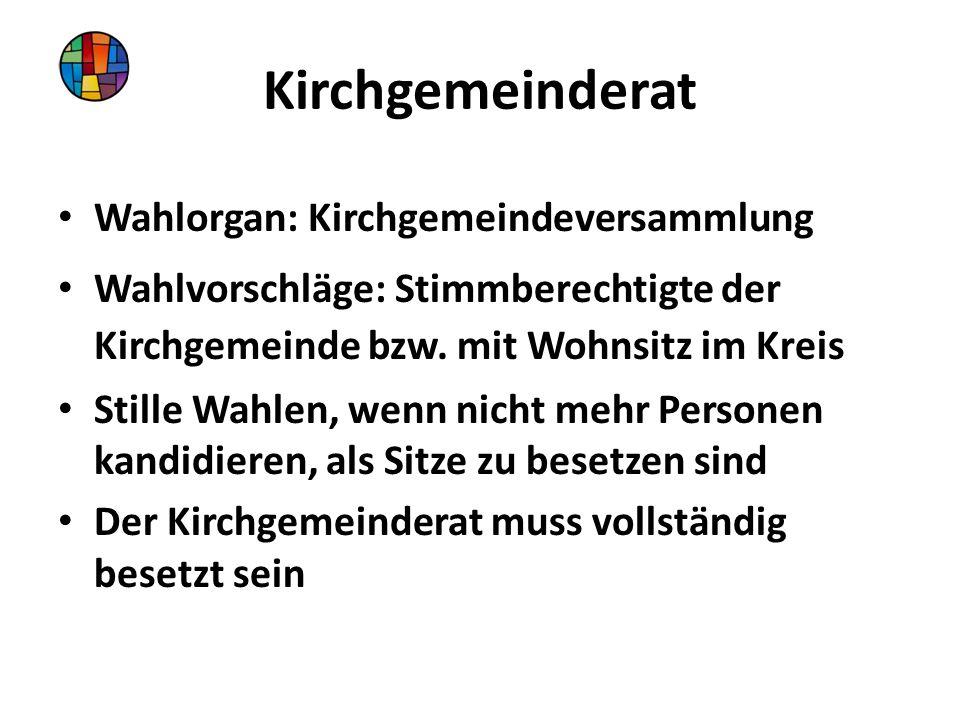 Kirchgemeinderat Wahlorgan: Kirchgemeindeversammlung Wahlvorschläge: Stimmberechtigte der Kirchgemeinde bzw.