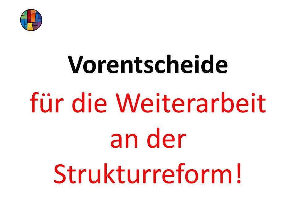 Vorentscheide für die Weiterarbeit an der Strukturreform!