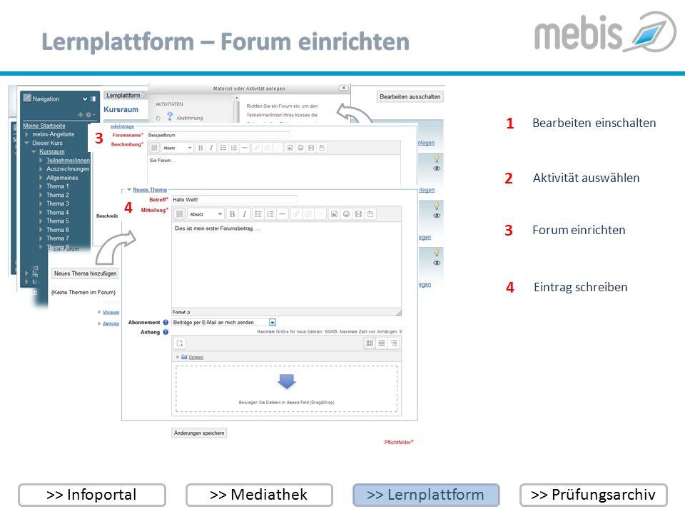 >> Infoportal>> Mediathek>> Lernplattform>> Prüfungsarchiv Bearbeiten einschalten 1 1 2 Aktivität auswählen 2 2 Forum einrichten 3 3 4 Eintrag schreib
