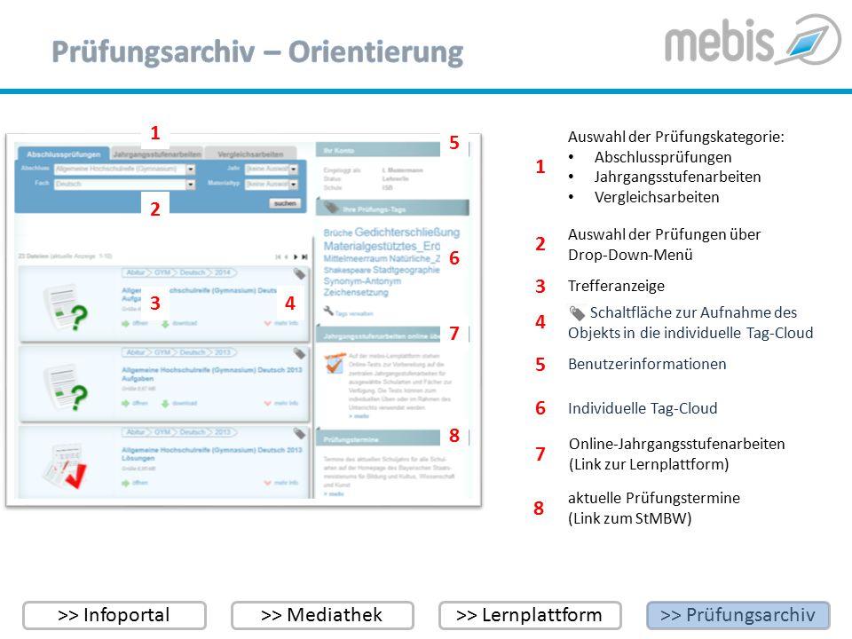 >> Infoportal>> Mediathek>> Lernplattform>> Prüfungsarchiv Bitte beachten Sie: Das Prüfungsarchiv unterscheidet zwischen für alle Nutzer – ohne Anmeldung – verfügbaren Aufgaben und Materialien (z.