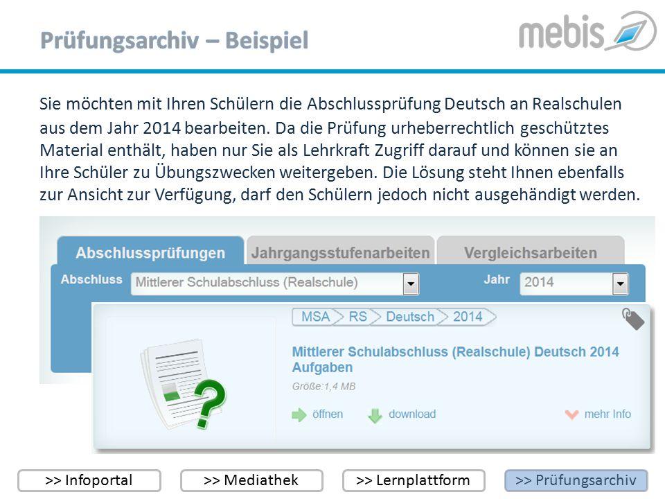 >> Infoportal>> Mediathek>> Lernplattform>> Prüfungsarchiv Sie möchten mit Ihren Schülern die Abschlussprüfung Deutsch an Realschulen aus dem Jahr 201