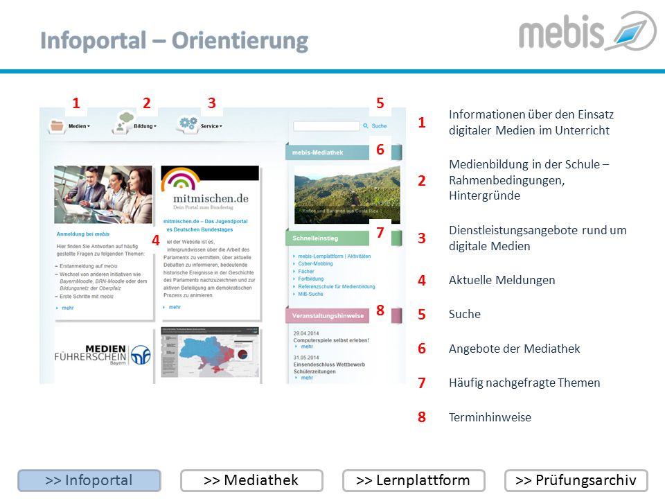 >> Infoportal>> Mediathek>> Lernplattform>> Prüfungsarchiv 123 4 5 6 7 1 Aktuelle Meldungen 2 Informationen über den Einsatz digitaler Medien im Unter