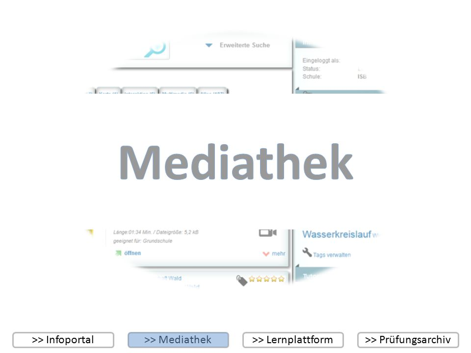 >> Infoportal>> Mediathek>> Lernplattform>> Prüfungsarchiv 123 46 1 Eingabefeld für den Suchbegriff 2 Schaltfläche zur Ausführung der Suche 3 Schaltfläche zum Aufruf der erweiterten Suche 4 Benutzerinformationen 5 Individuelle Tag-Cloud 6 Ergebnis einer Suche (mit Angabe des Mediums und der Anzahl der gefundenen Medien) 7 8 Schaltfläche zur Aufnahme des Objekts in die individuelle Tag-Cloud Schaltfläche zur Bewertung des Objekts (Rating) 85 7