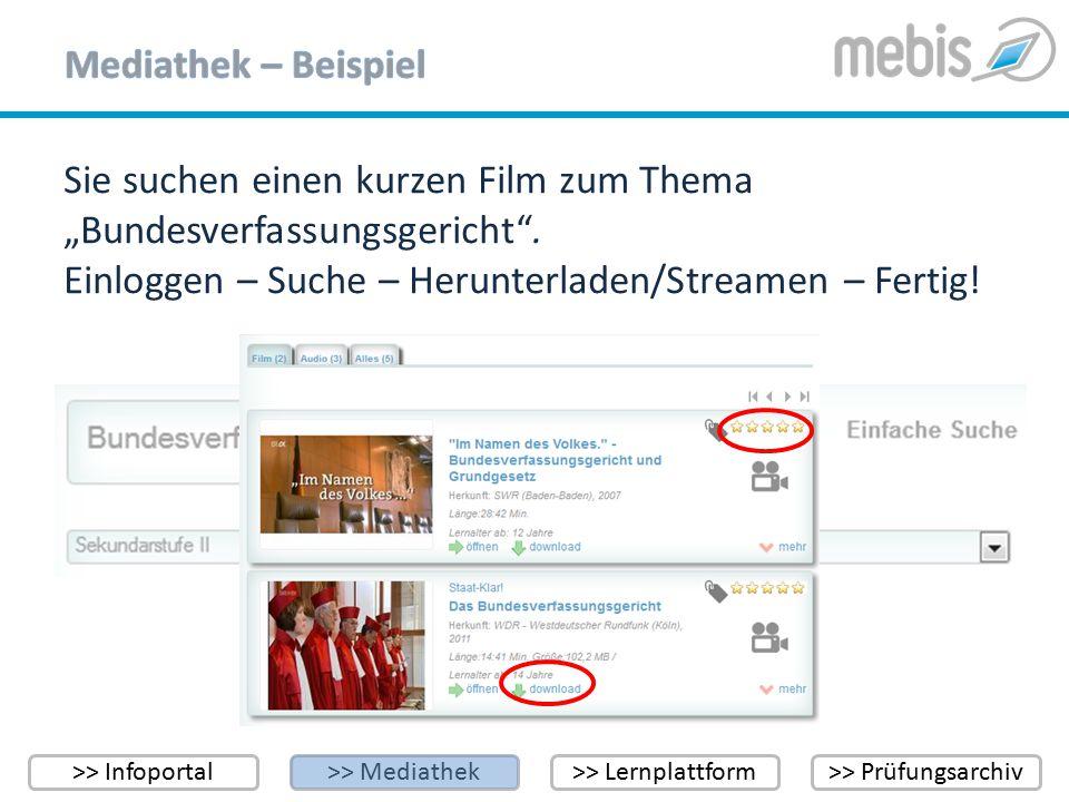 """>> Infoportal>> Mediathek>> Lernplattform>> Prüfungsarchiv Sie suchen einen kurzen Film zum Thema """"Bundesverfassungsgericht"""". Einloggen – Suche – Heru"""