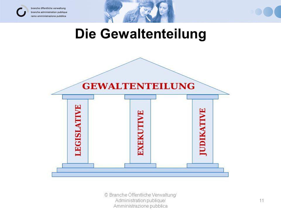 Die Gewaltenteilung © Branche Öffentliche Verwaltung/ Administration publique/ Amministrazione pubblica 11