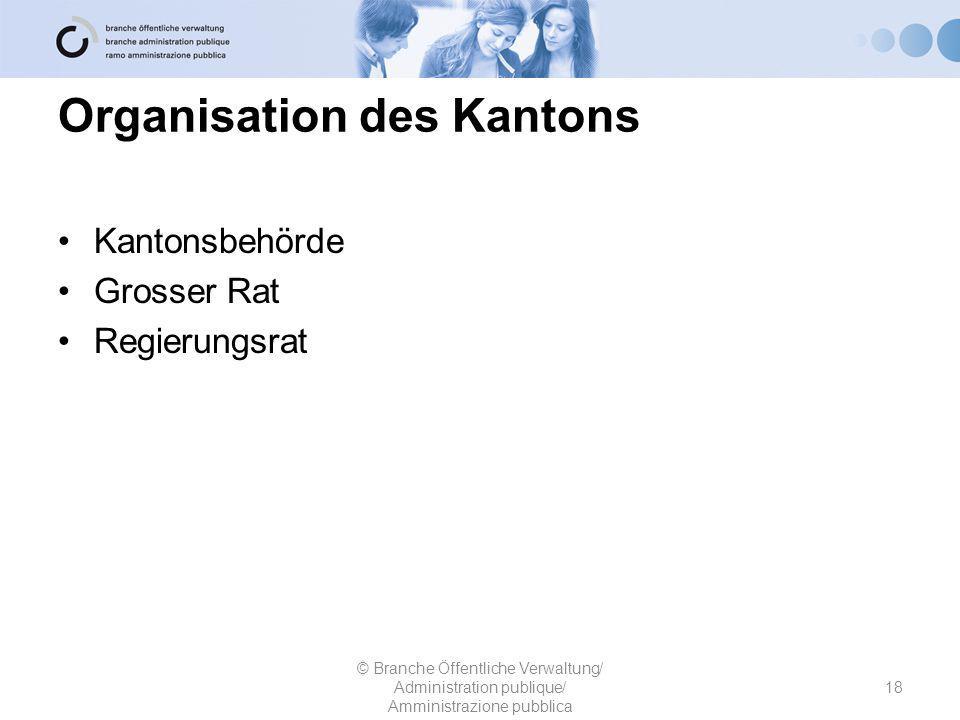 Organisation des Kantons Kantonsbehörde Grosser Rat Regierungsrat 18 © Branche Öffentliche Verwaltung/ Administration publique/ Amministrazione pubblica