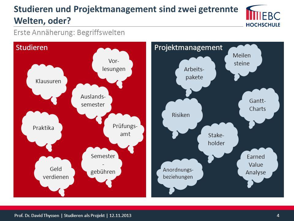 Prof. Dr. David Thyssen | Studieren als Projekt | 12.11.20134 Projektmanagement Studieren und Projektmanagement sind zwei getrennte Welten, oder? Erst