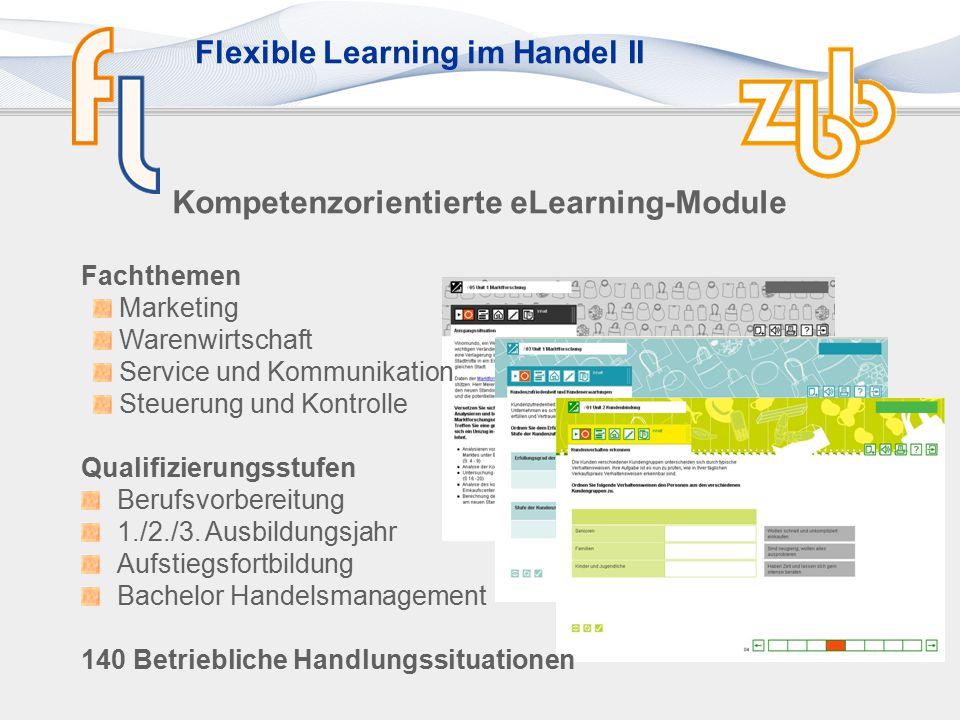 Flexible Learning im Handel II Kompetenzorientierte eLearning-Module Fachthemen Marketing Warenwirtschaft Service und Kommunikation Steuerung und Kontrolle Qualifizierungsstufen Berufsvorbereitung 1./2./3.