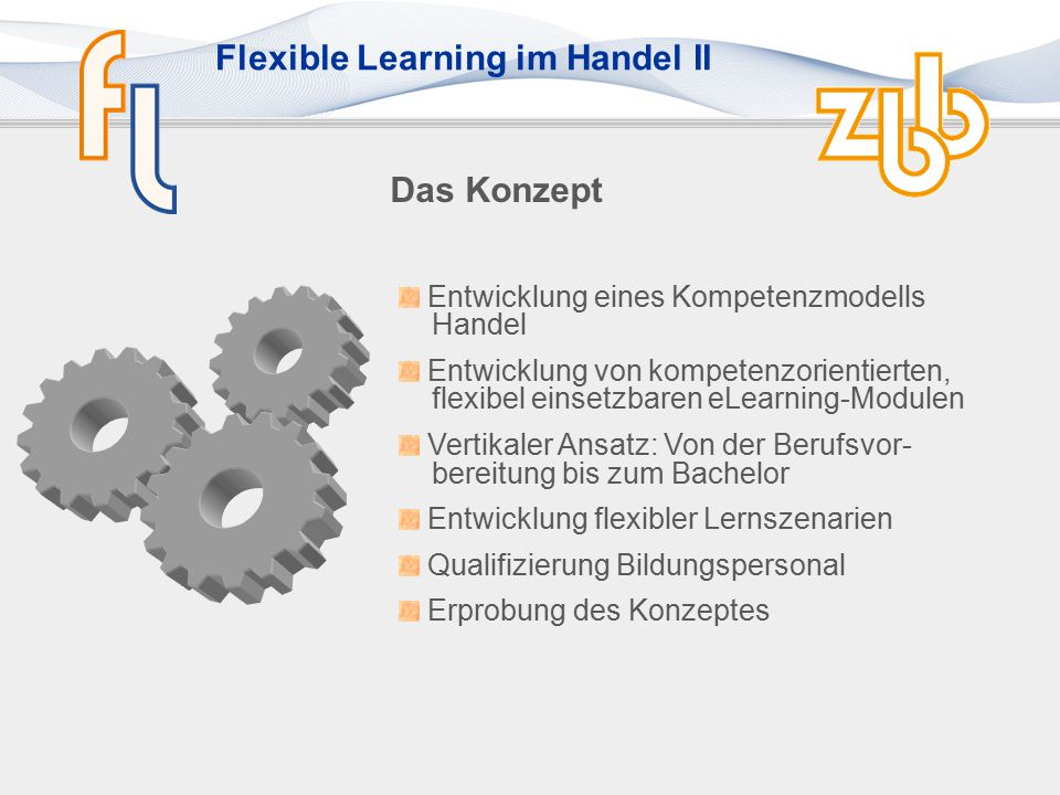 Flexible Learning im Handel II Das Konzept Entwicklung eines Kompetenzmodells Handel Entwicklung von kompetenzorientierten, flexibel einsetzbaren eLearning-Modulen Vertikaler Ansatz: Von der Berufsvor- bereitung bis zum Bachelor Entwicklung flexibler Lernszenarien Qualifizierung Bildungspersonal Erprobung des Konzeptes