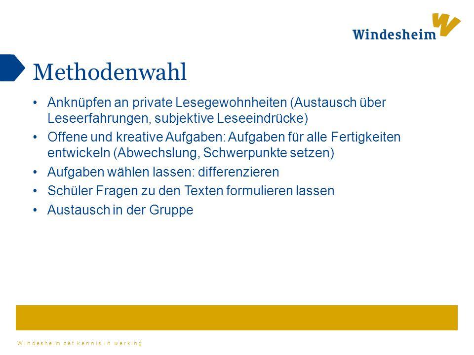 Windesheim zet kennis in werking Methodenwahl Anknüpfen an private Lesegewohnheiten (Austausch über Leseerfahrungen, subjektive Leseeindrücke) Offene