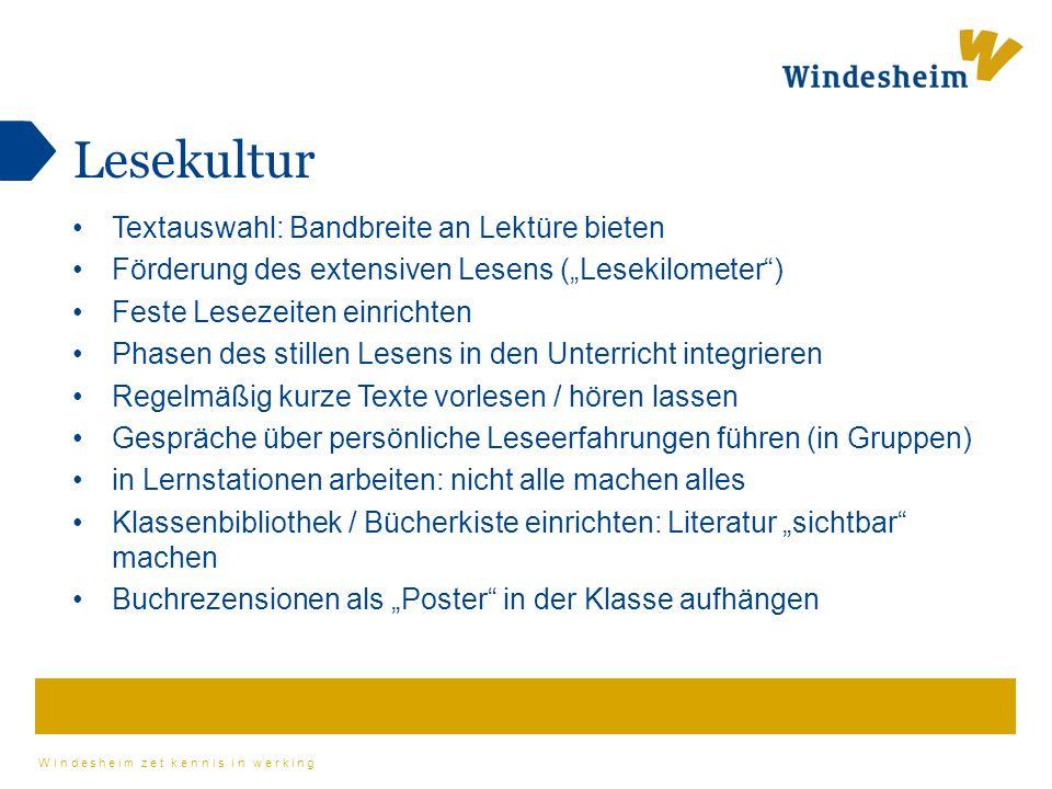 """Windesheim zet kennis in werking Lesekultur Textauswahl: Bandbreite an Lektüre bieten Förderung des extensiven Lesens (""""Lesekilometer"""") Feste Lesezeit"""