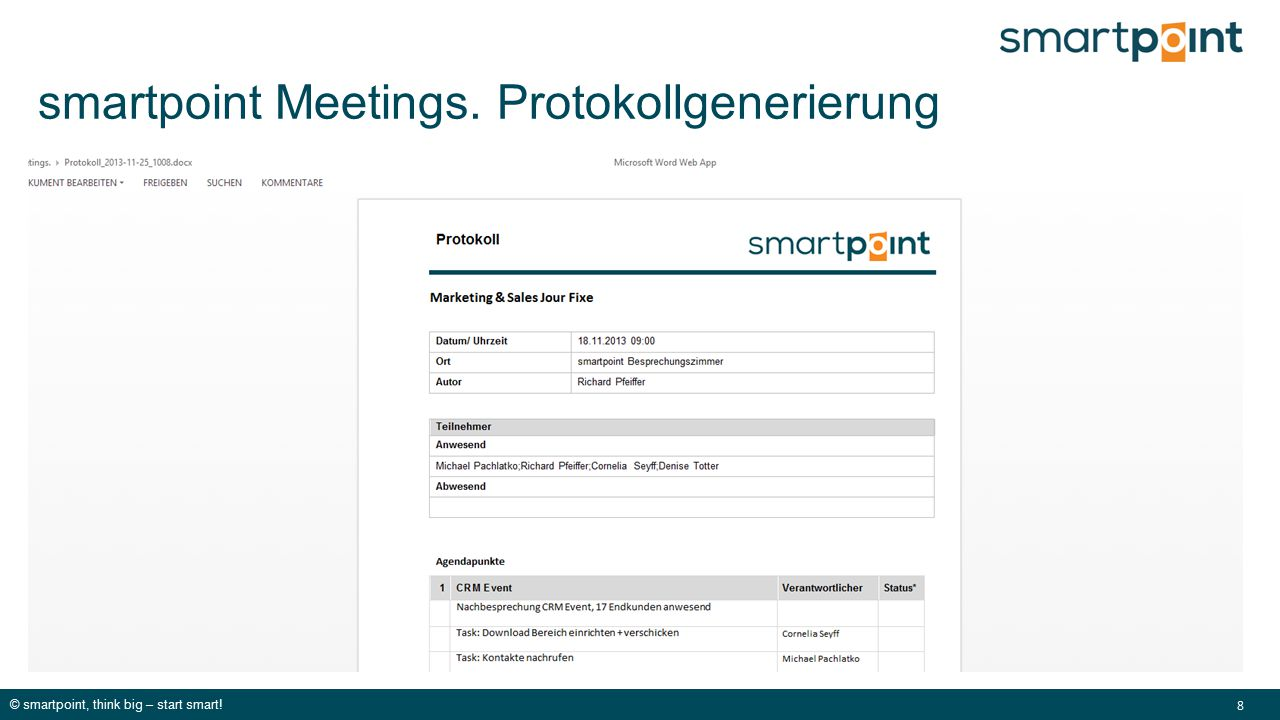 © smartpoint, think big – start smart! 8 smartpoint Meetings. Protokollgenerierung