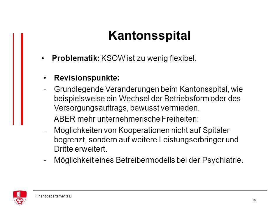 Finanzdepartement FD 10 Kantonsspital Revisionspunkte: -Grundlegende Veränderungen beim Kantonsspital, wie beispielsweise ein Wechsel der Betriebsform oder des Versorgungsauftrags, bewusst vermieden.