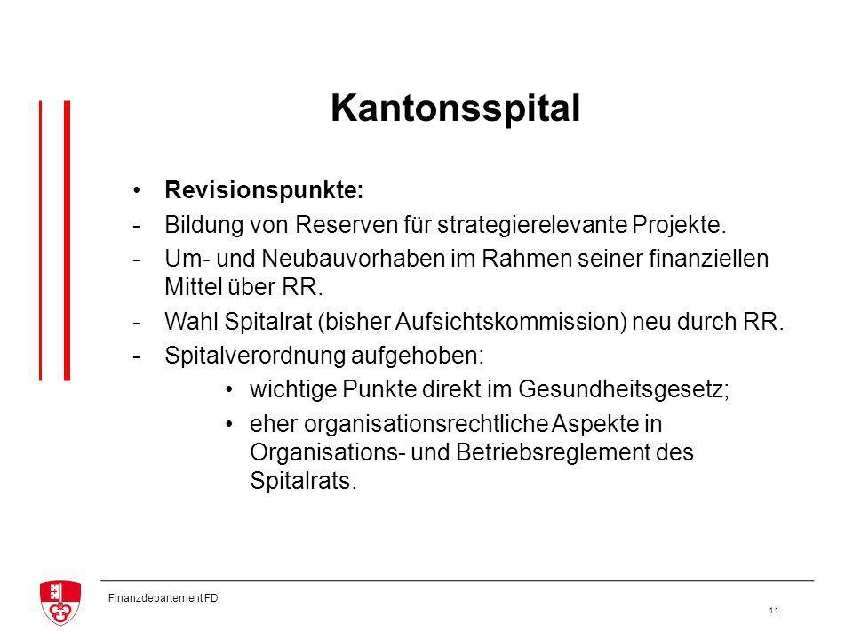 Finanzdepartement FD 11 Kantonsspital Revisionspunkte: -Bildung von Reserven für strategierelevante Projekte.