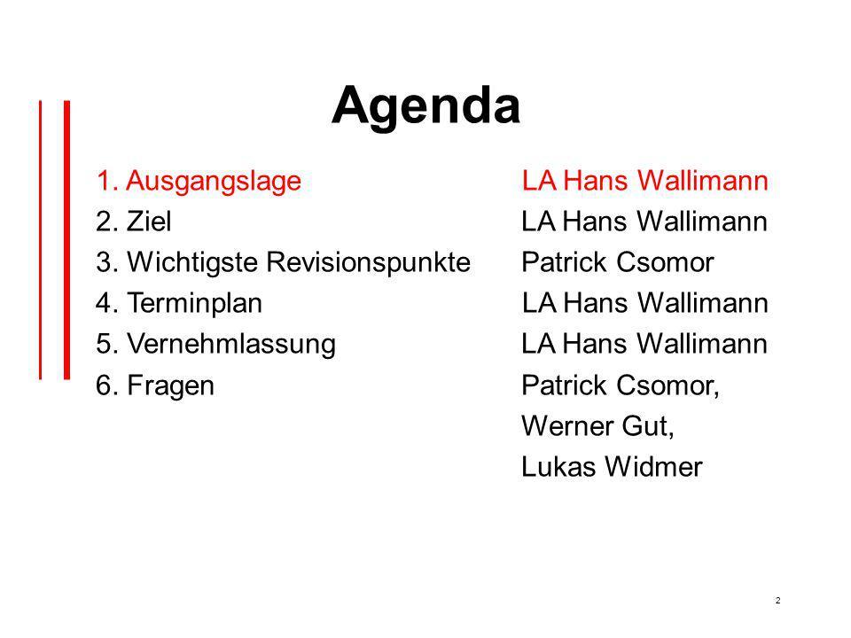 2 Agenda 1. Ausgangslage LA Hans Wallimann 2. Ziel LA Hans Wallimann 3.