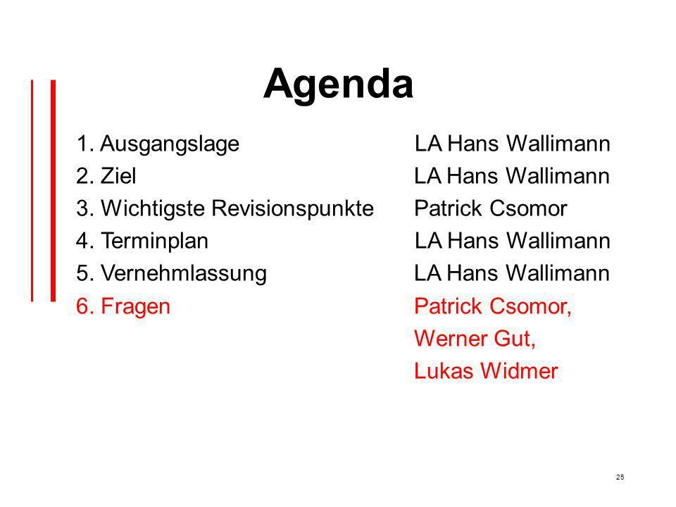 25 Agenda 1. Ausgangslage LA Hans Wallimann 2. Ziel LA Hans Wallimann 3.