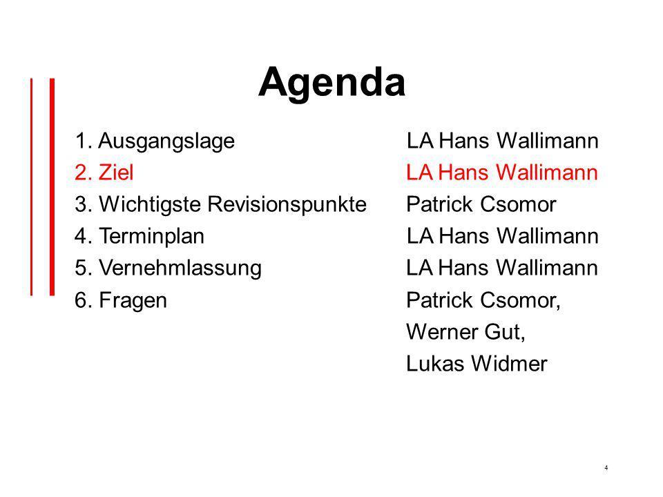 4 Agenda 1. Ausgangslage LA Hans Wallimann 2. Ziel LA Hans Wallimann 3.