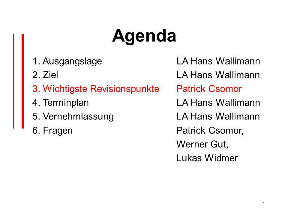 7 Agenda 1. Ausgangslage LA Hans Wallimann 2. Ziel LA Hans Wallimann 3.