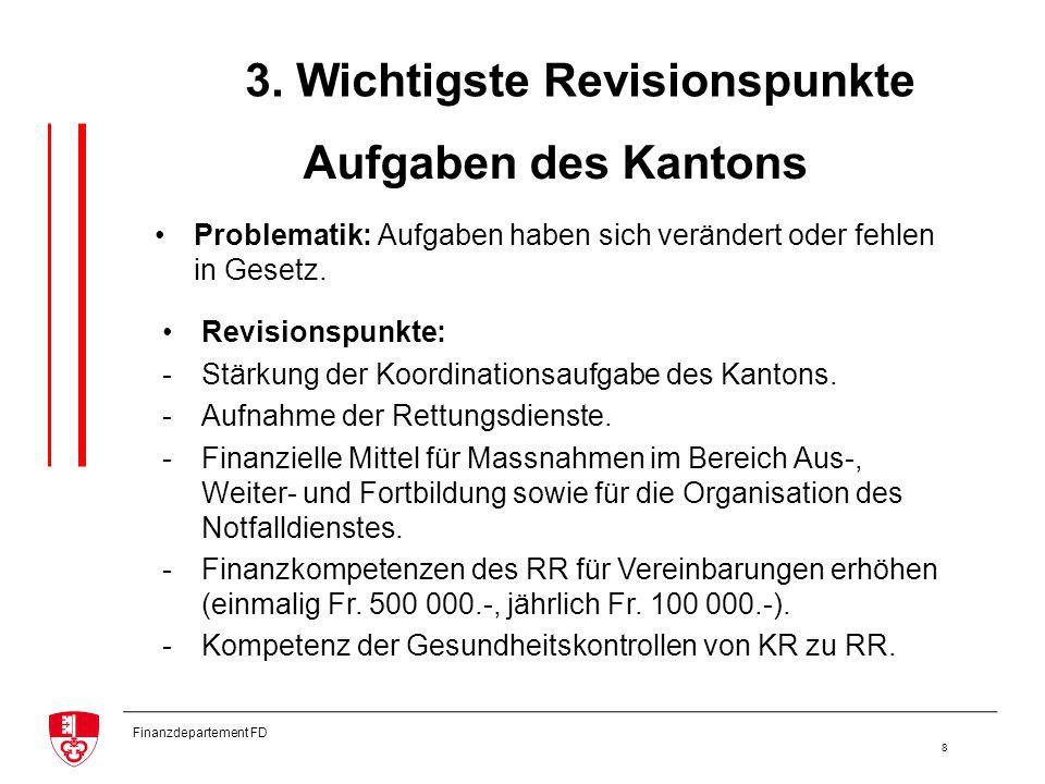 Finanzdepartement FD 8 Aufgaben des Kantons Revisionspunkte: -Stärkung der Koordinationsaufgabe des Kantons.