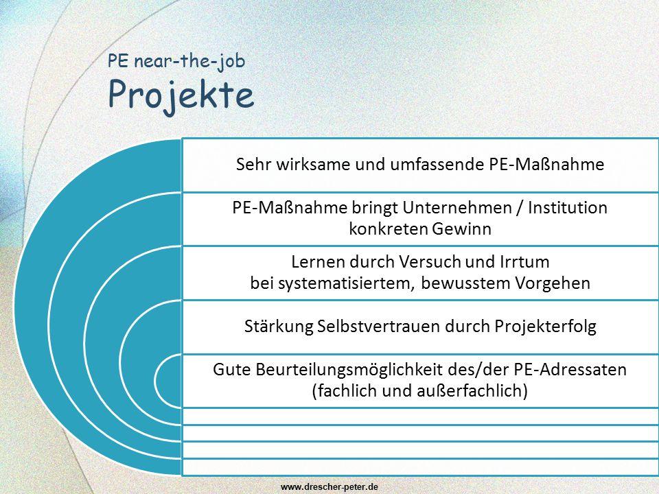 PE near-the-job Projekte Sehr wirksame und umfassende PE-Maßnahme PE-Maßnahme bringt Unternehmen / Institution konkreten Gewinn Lernen durch Versuch u