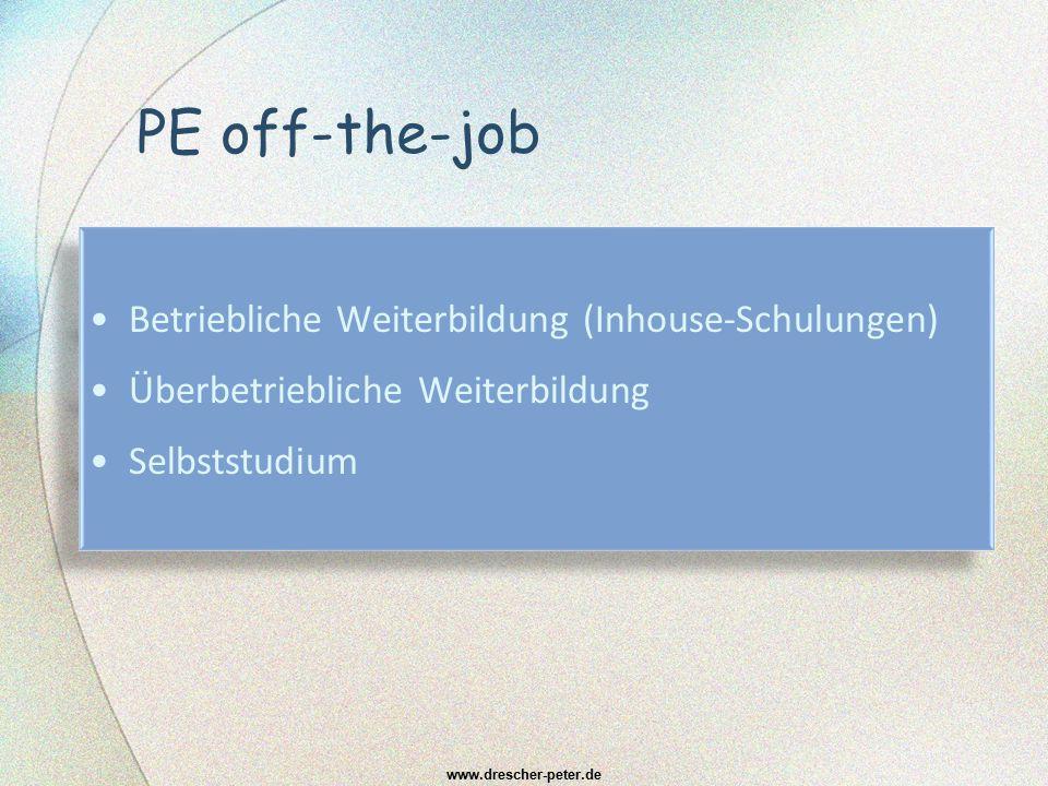 PE off-the-job Betriebliche Weiterbildung (Inhouse-Schulungen) Überbetriebliche Weiterbildung Selbststudium Betriebliche Weiterbildung (Inhouse-Schulu