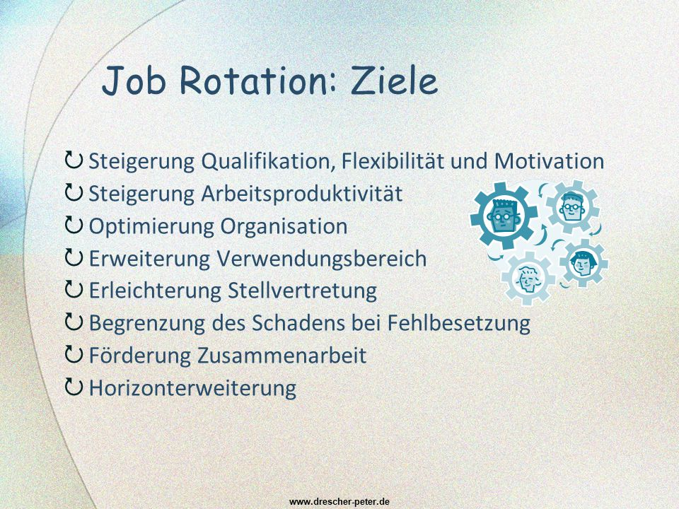 Job Rotation: Ziele  Steigerung Qualifikation, Flexibilität und Motivation  Steigerung Arbeitsproduktivität  Optimierung Organisation  Erweiterung