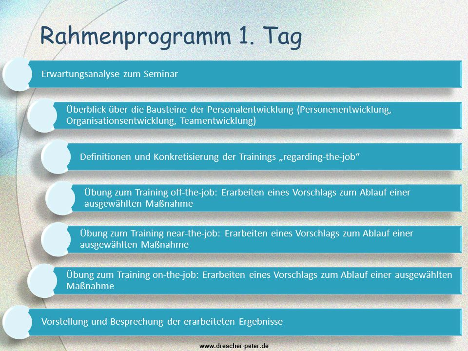 Rahmenprogramm 1. Tag www.drescher-peter.de