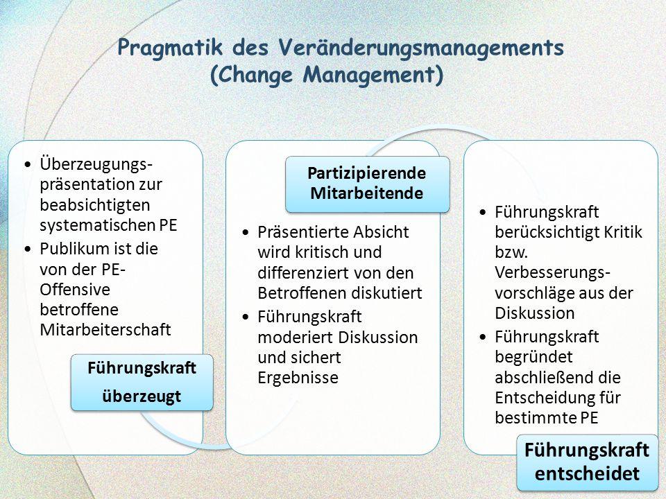 Pragmatik des Veränderungsmanagements (Change Management) Überzeugungs- präsentation zur beabsichtigten systematischen PE Publikum ist die von der PE-