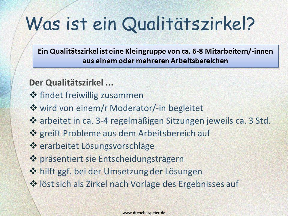 Was ist ein Qualitätszirkel? Der Qualitätszirkel...  findet freiwillig zusammen  wird von einem/r Moderator/-in begleitet  arbeitet in ca. 3-4 rege