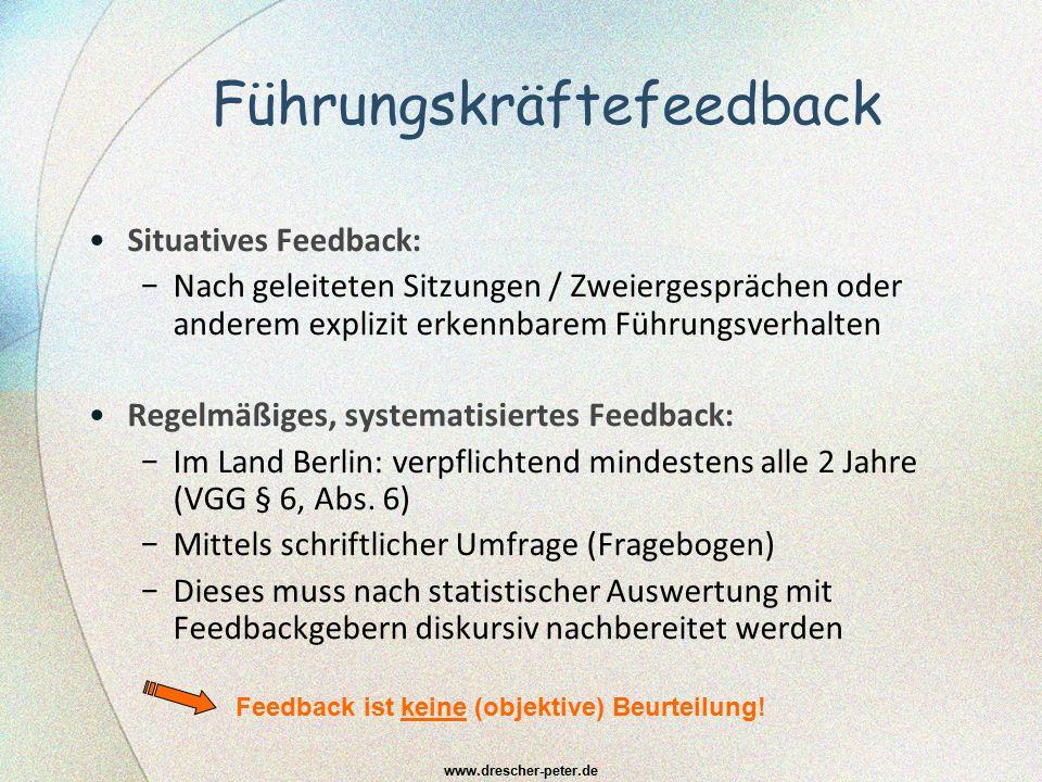 Führungskräftefeedback Situatives Feedback: − Nach geleiteten Sitzungen / Zweiergesprächen oder anderem explizit erkennbarem Führungsverhalten Regelmä