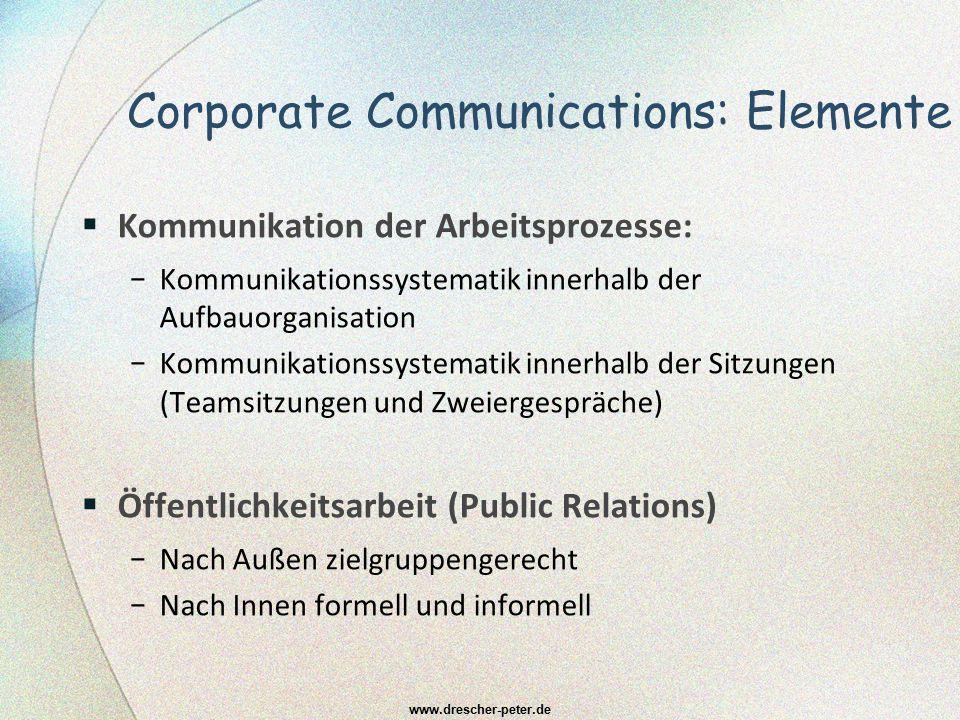 Corporate Communications: Elemente KKommunikation der Arbeitsprozesse: −K−Kommunikationssystematik innerhalb der Aufbauorganisation −K−Kommunikation