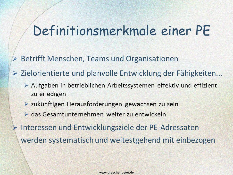 Definitionsmerkmale einer PE  Betrifft Menschen, Teams und Organisationen  Zielorientierte und planvolle Entwicklung der Fähigkeiten...  Aufgaben i