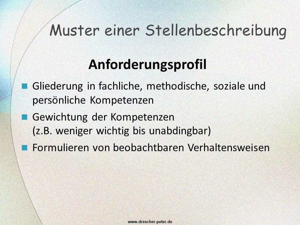 www.drescher-peter.de Gliederung in fachliche, methodische, soziale und persönliche Kompetenzen Gewichtung der Kompetenzen (z.B. weniger wichtig bis u