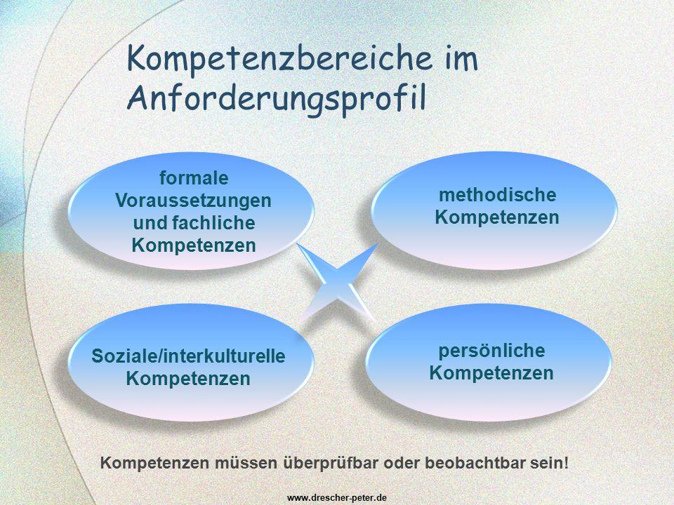 Kompetenzbereiche im Anforderungsprofil www.drescher-peter.de formale Voraussetzungen und fachliche Kompetenzen Soziale/interkulturelle Kompetenzen me