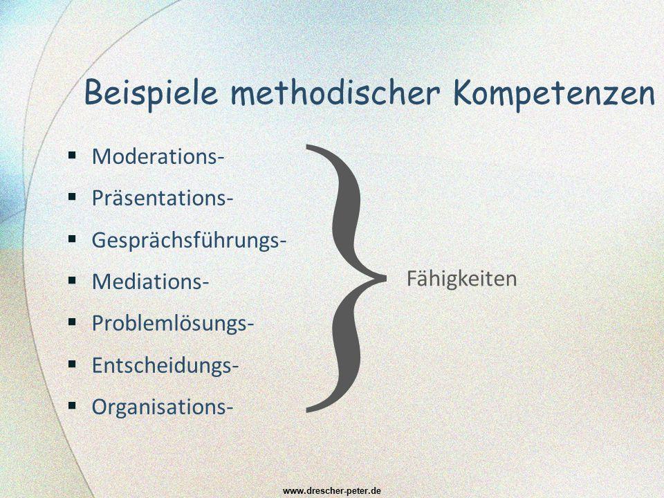 Beispiele methodischer Kompetenzen  Moderations-  Präsentations-  Gesprächsführungs-  Mediations-  Problemlösungs-  Entscheidungs-  Organisatio