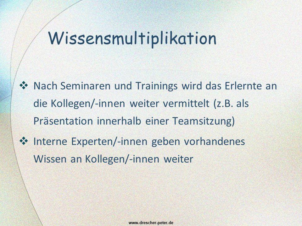 Wissensmultiplikation  Nach Seminaren und Trainings wird das Erlernte an die Kollegen/-innen weiter vermittelt (z.B. als Präsentation innerhalb einer
