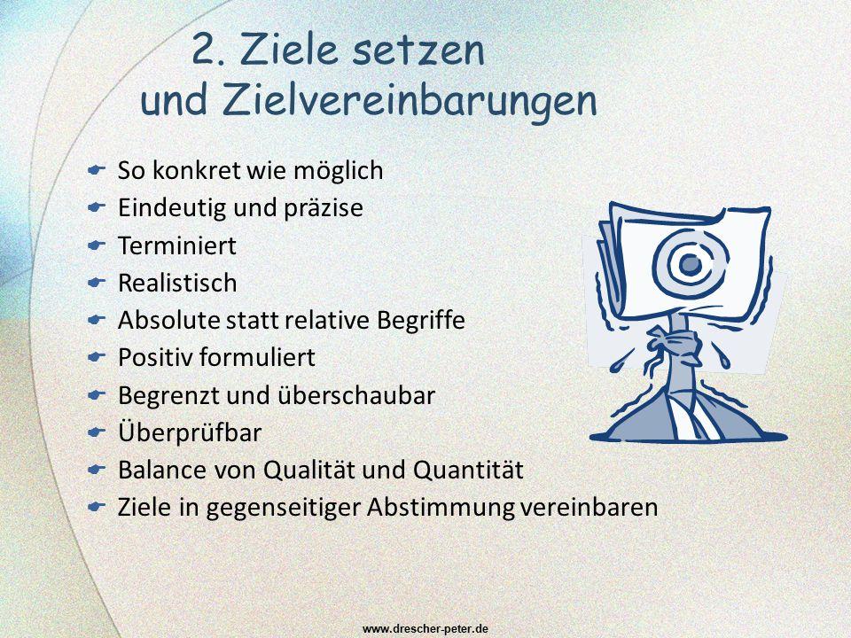 2. Ziele setzen und Zielvereinbarungen www.drescher-peter.de  So konkret wie möglich  Eindeutig und präzise  Terminiert  Realistisch  Absolute st