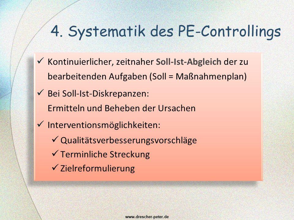 4. Systematik des PE-Controllings Kontinuierlicher, zeitnaher Soll-Ist-Abgleich der zu bearbeitenden Aufgaben (Soll = Maßnahmenplan) Bei Soll-Ist-Disk