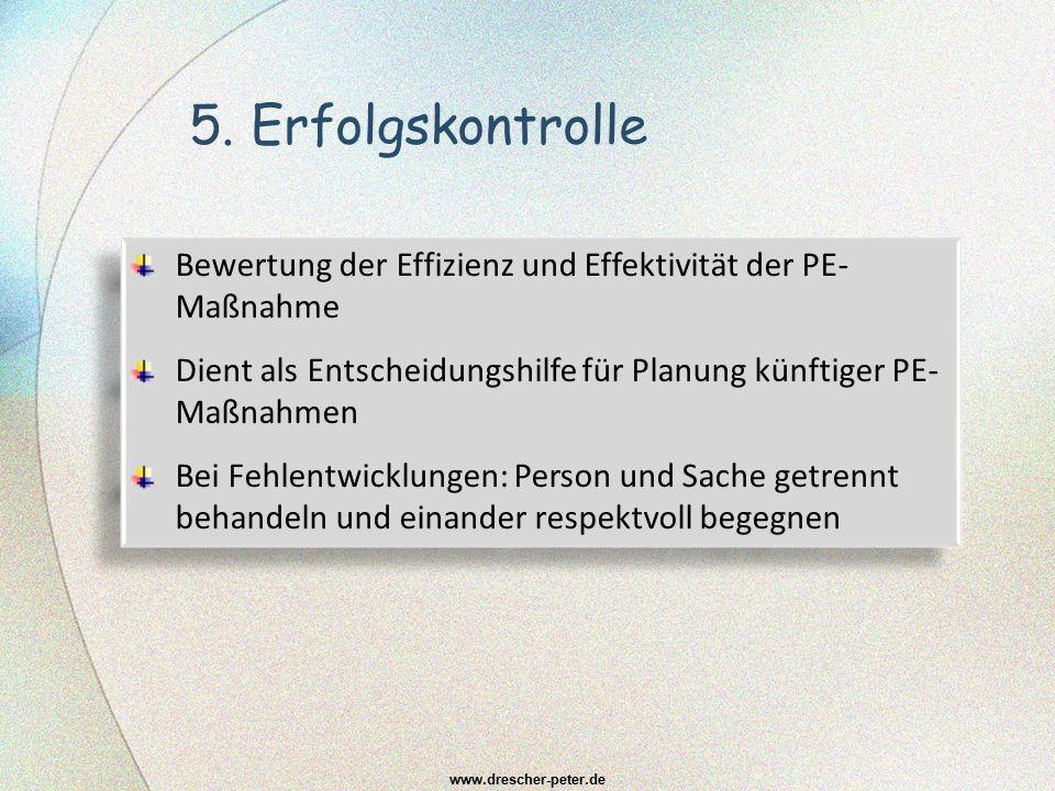5. Erfolgskontrolle www.drescher-peter.de Bewertung der Effizienz und Effektivität der PE- Maßnahme Dient als Entscheidungshilfe für Planung künftiger