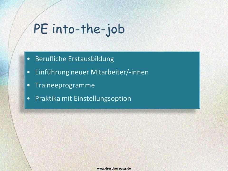 PE into-the-job Berufliche Erstausbildung Einführung neuer Mitarbeiter/-innen Traineeprogramme Praktika mit Einstellungsoption Berufliche Erstausbildu